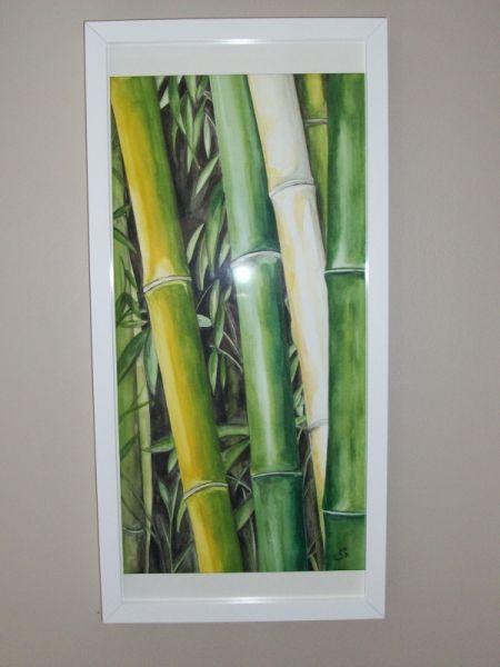 Tableau Peinture Bambous Asie Zen Vert Fleurs Aquarelle Les