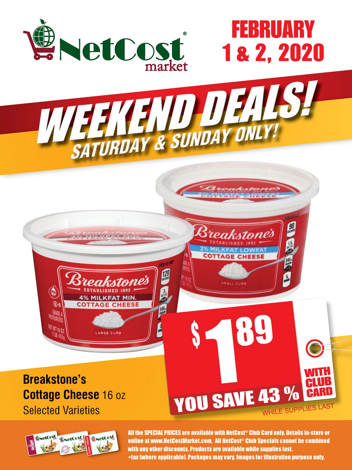Heads Up For The Weekend Get 43 Off Breakstone S Cottage Cheese With Your Netcost Club Card Browse More O In 2020 Breakstone Cottage Cheese Club Card Cottage Cheese