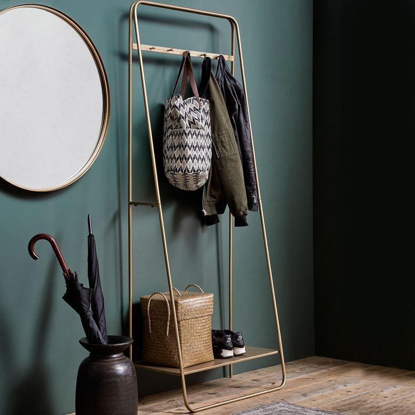 Meuble d´entrée vestiaire porte-manteau en métal finition laiton