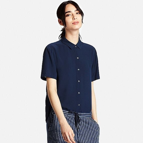 UNIQLO WOMEN RAYON SHORT SLEEVE BLOUSE | wardrobe shopping | Pinterest |  Uniqlo, Short sleeves and Shorts