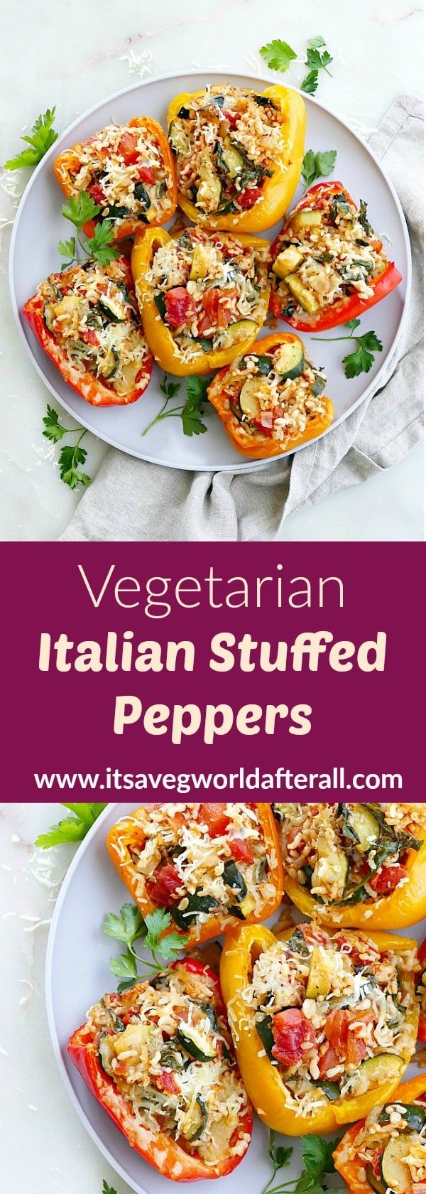 Vegetarian Italian Stuffed Peppers - a healthy stuffed peppers recipe with rice, zucchini, spinach, tomatoes, onion and finished with a crown of mozzarella cheese. #peppers #italian