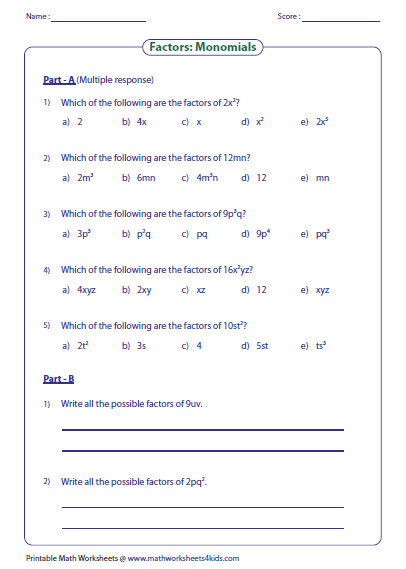 Precised Worksheets On Factors Monomials