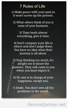7 Rules Of Life Quote Endearing 7 Life Rules  Quotes  Pinterest  Life Rules Life Lessons And