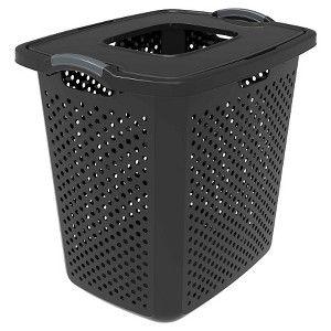 2 5 Bushel Xl Lidded Lamper Black Room Essentials Laundry