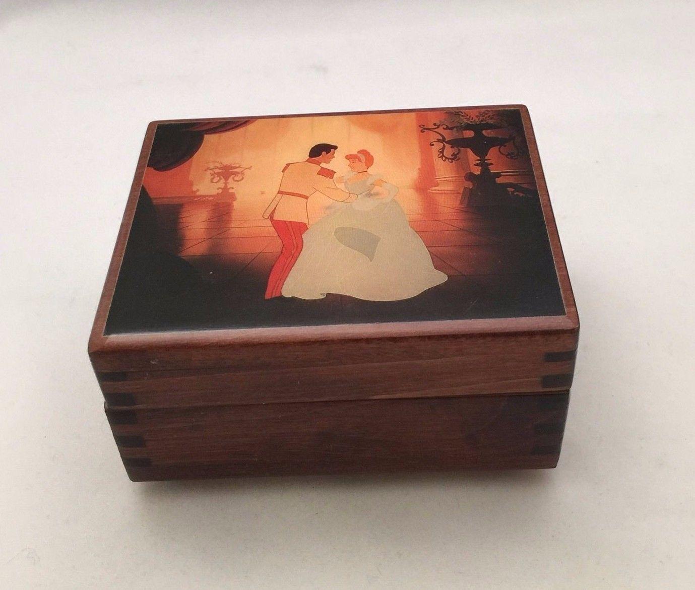 Rare walt disney wooden cinderella music box 1948 reuge