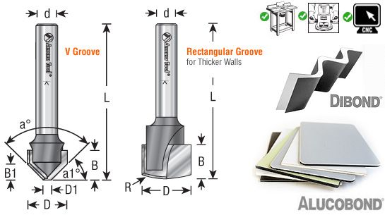 Double Edge Folding V Rectangular Groove Router Bits For Shaping Aluminum Composite Material Acm Panels Alucobond Router Bits Rectangular