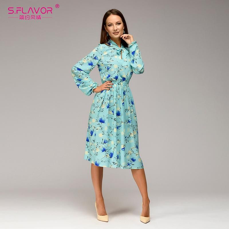 1c8e8d85efb7f S.FLAVOR Women casual knee-length dress 2018 new arrival long sleeve p –  serenityboutique