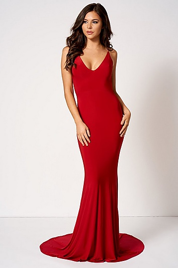 413d9059435 Womens   Knot Camisole Fishtail Maxi Dress By Club L - Red in 2019 ...