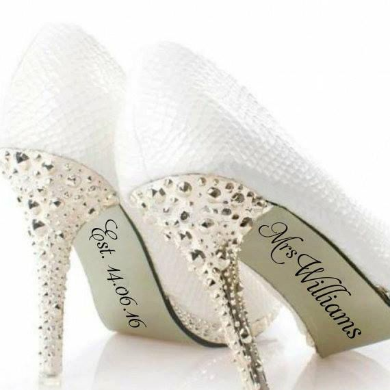 b3a141c95ff3 Personalised Name Shoe Stickers- Wedding Decal- Wedding Favour- Bride Gift- Bridal  Shoes- Wedding Prop- Photo Prop