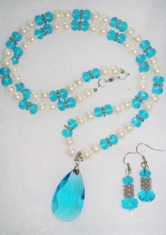Handmade Pearl and Aqua Crystal Necklace Set           by SCLadyDi, $24.95