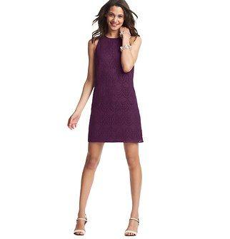 Crochet Lace Shift Dress - Love purple!
