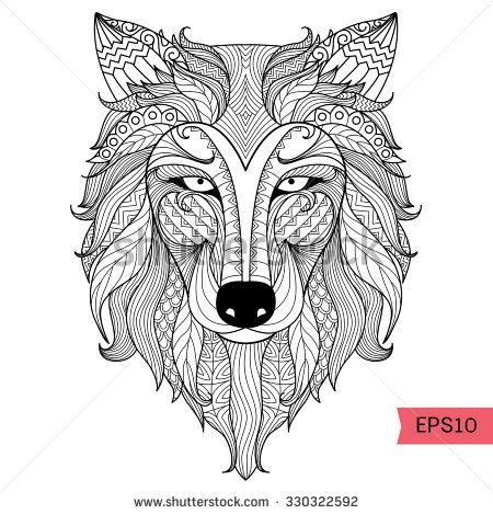 Detail zentangle wolf for coloring page,tattoo, t shirt design - copy coloring page of a tiger shark