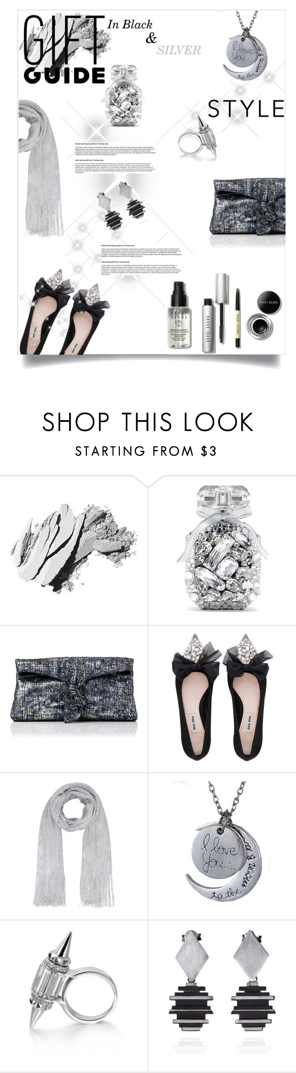 """Gift Guide: Besties - Black & Silver"" by celeste-menezes on Polyvore featuring Bobbi Brown Cosmetics, Victoria's Secret, L.K.Bennett, Miu Miu and besties"