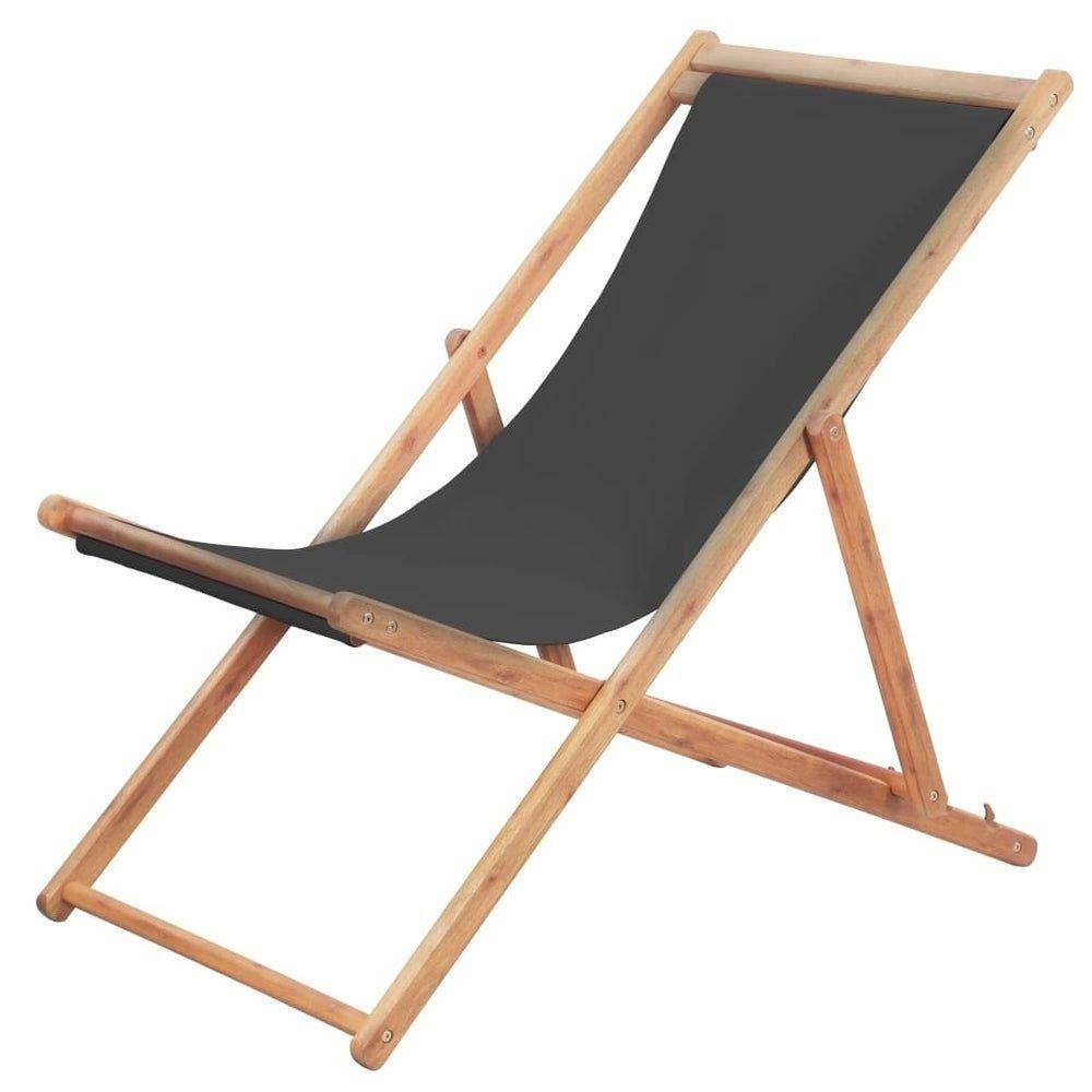 Houten Lounge Stoel Buiten.Folding Beach Chair Fabric And Wooden Frame Gray Liveditor