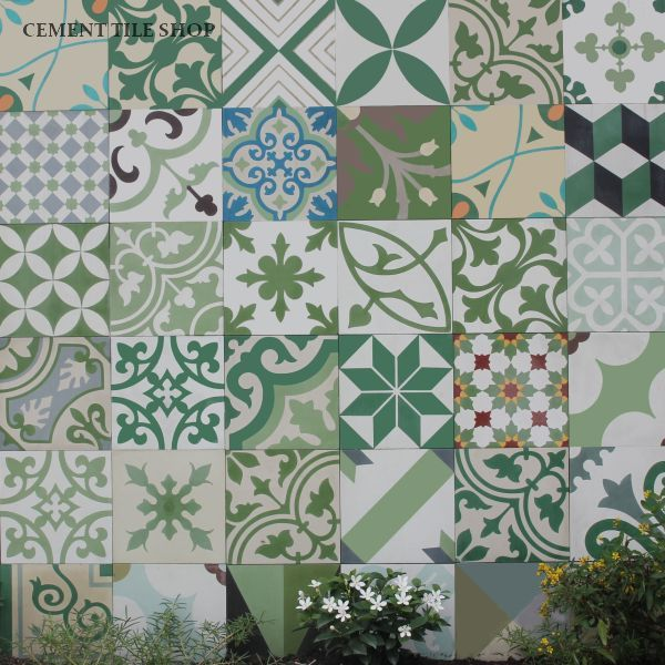 Cement Tile Encaustic Patchwork Green