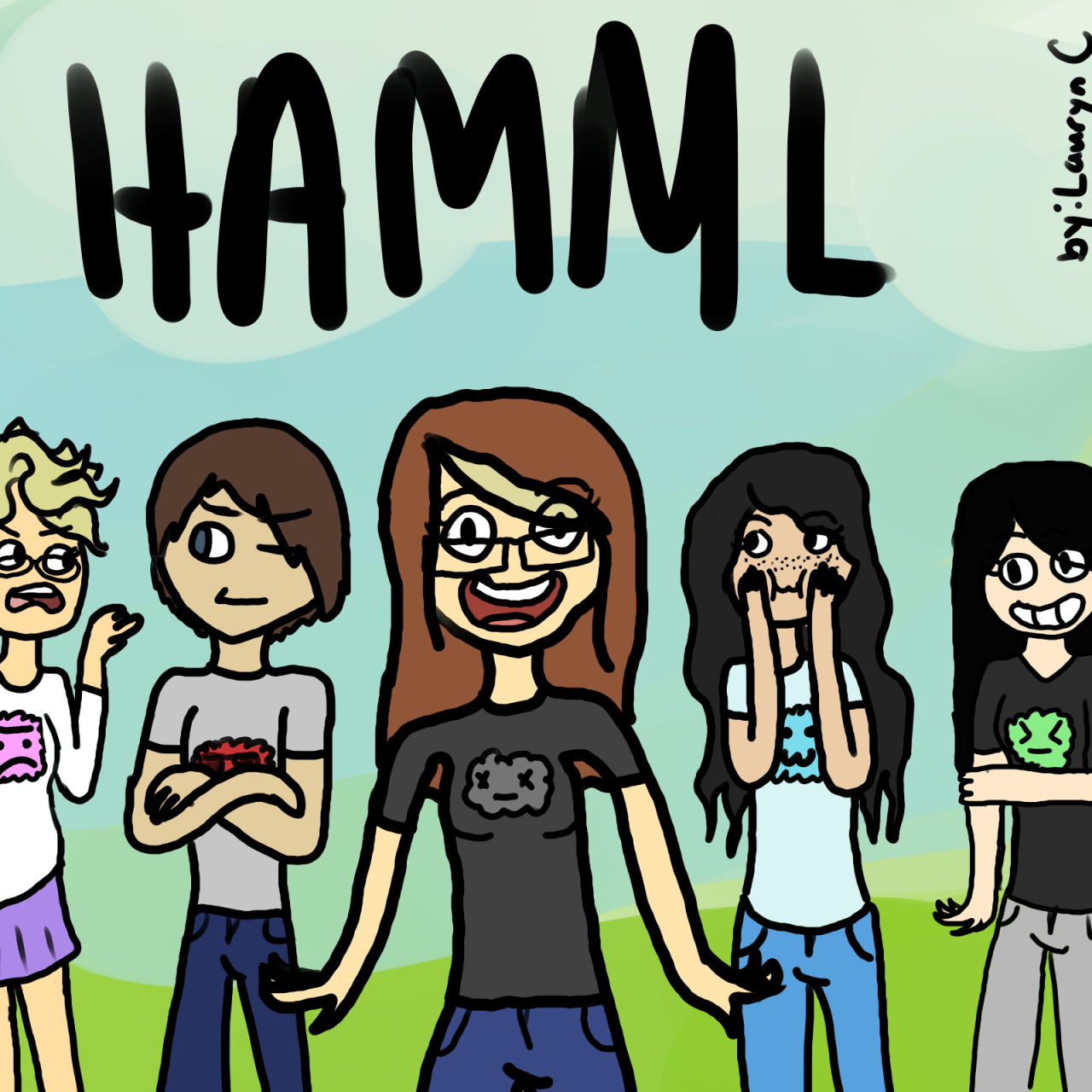 jmx-galaxy:  NEW WEBCOMIC! HAMML! I will be posting a new page every so often when i can get this done. (its a little bit like homestuck but i swear i won't rip anything off) These are all girls. Thank you very much for reading! RE-BLOG and LIKE please!H: Hailee (middle)A: Aleixa (far right)M: Maddie (right of hailee)M: Maggie (far left)L: Lauryn (left of hailee)