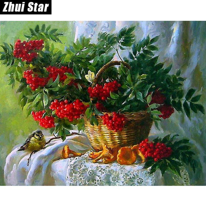 DIY 5D Diamond Mosaic Diamond Painting Cross Stitch Floral Baskets Kit Diamonds Embroidery Square Drill Home Decoration