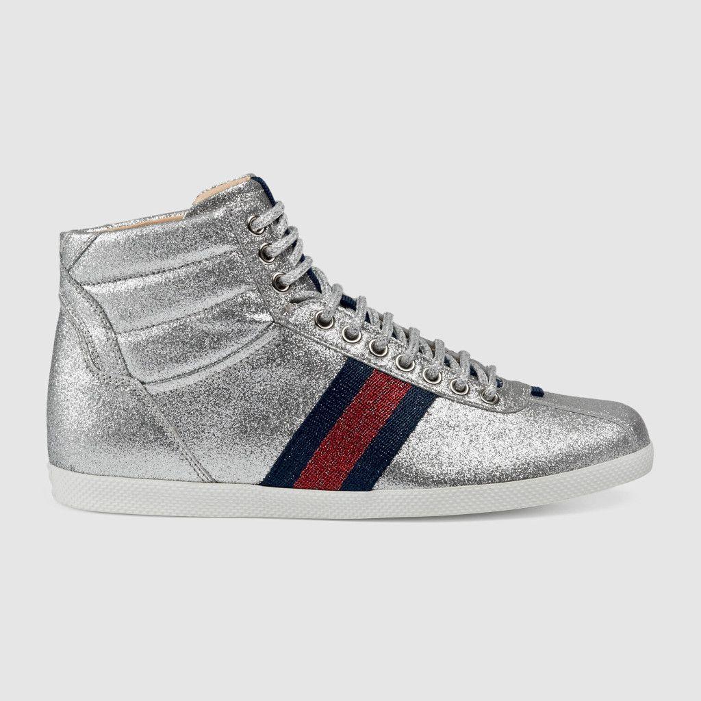 Glitter Web High-Top Sneaker, Gucci