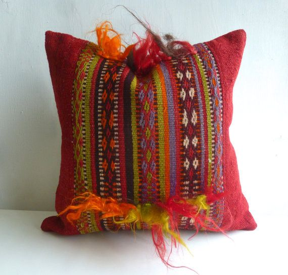 Red Ethnic Kilim Pillow Cover