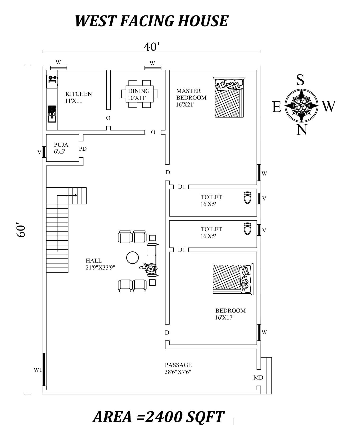 40 x60 2 bhk west facing house plan as per vastu shastra