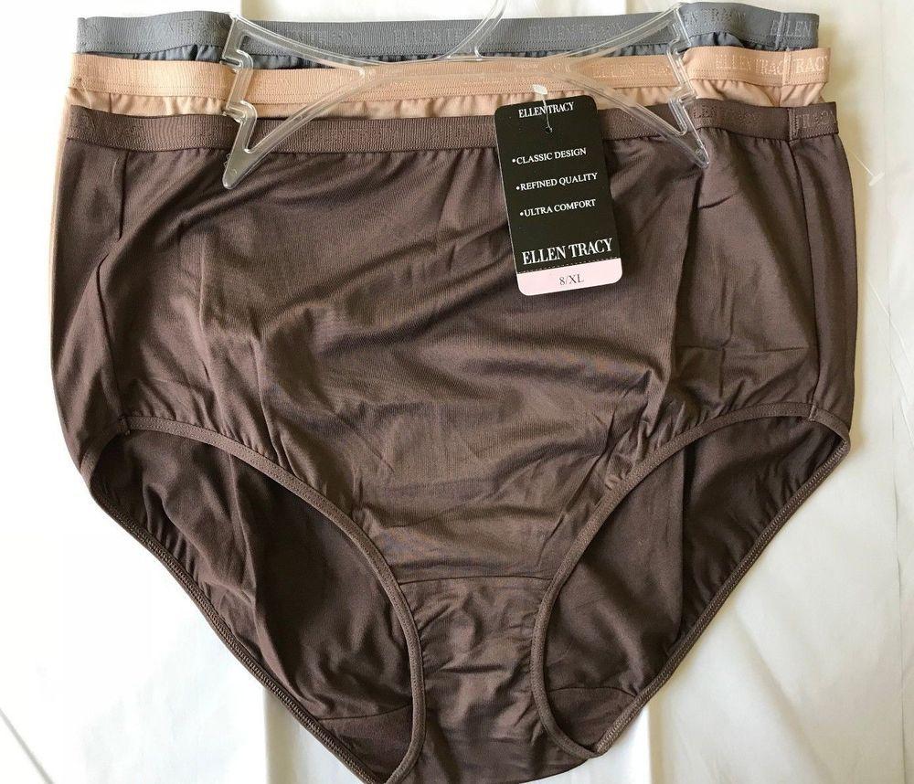 Ellen Tracy Womens 3 Pack Full Brief Logo Micofiber Panties Briefs