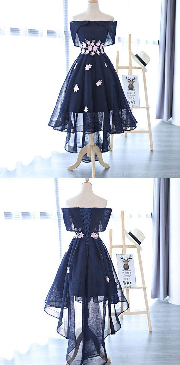 Cute dark blue a line high low off shoulder short prom dress of