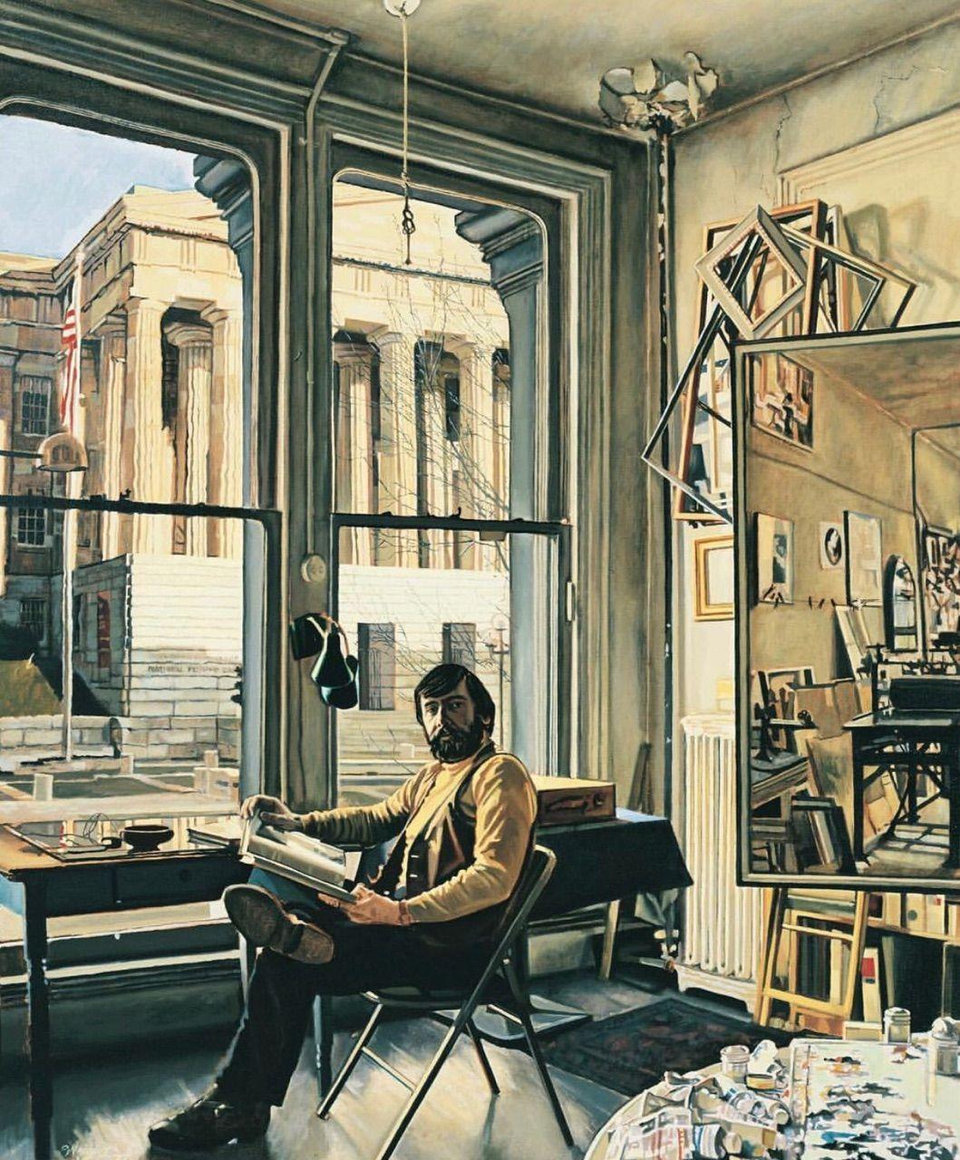 The Original Selfie The Self Portrait Nationalselfieday Frank Wright The Artist In His Studio 1977 Oil On Canvas Morrismuseu Art Museum Artist Art