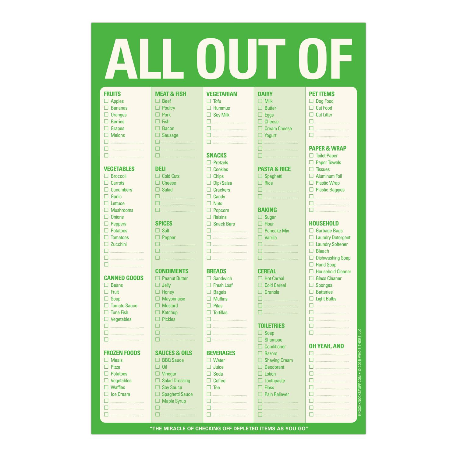 Knock Knock All Out Of Pad Is A Magnetic Grocery Shopping List In
