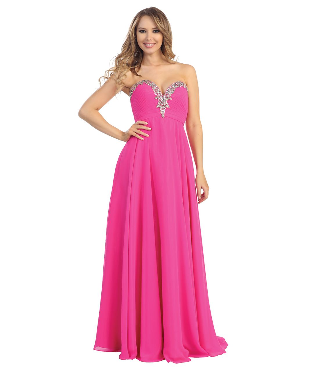 Pink Chiffon Rhinestone Beaded Strapless Sweetheart Gown [Item#40297 ...