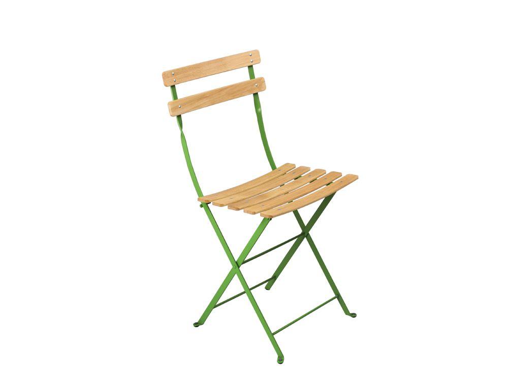 Chaise Naturel Bistro, chaise en métal et bois   Vert d\'automne ...