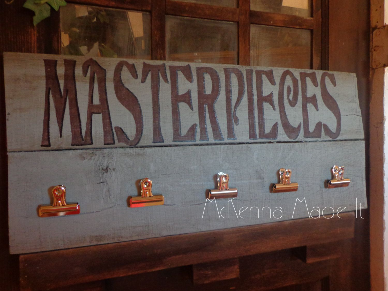Uncategorized Wood Pallet Artwork masterpieces pallet wood sign with clips by mckennamadeit2013 mckennamadeit2013