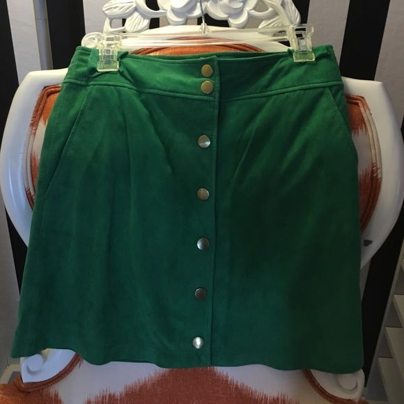 Genuine Suede/Leather Green Button-down Skirt Size 8 US/40 EUR. Never been worn. Just doesn't work with my style anymore. It'd be super cute with a black crop top.  MNG Collection Skirts A-Line or Full