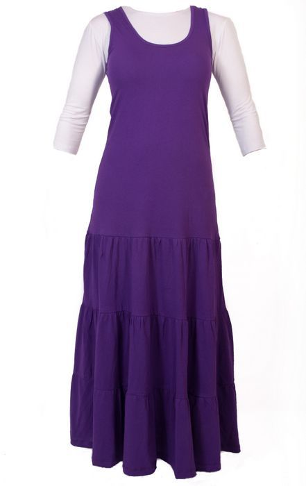 db0de260539b Long Jumper Dress with Tiered Bottom from Kosher Casual. Available in black  or purple. $32