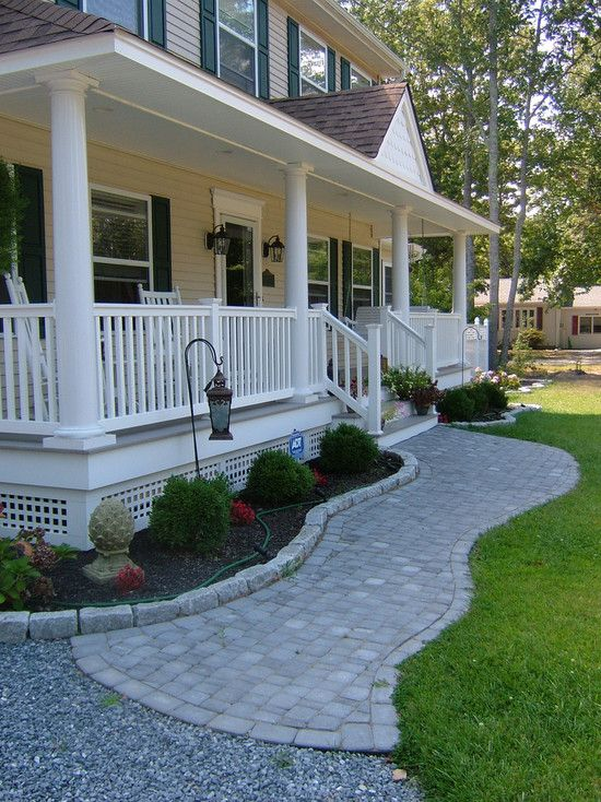 Traditional Exterior Front Porch Design Pictures Remodel Decor And Ideas Soooo Pretty Front Porch Design Porch Landscaping Porch Design