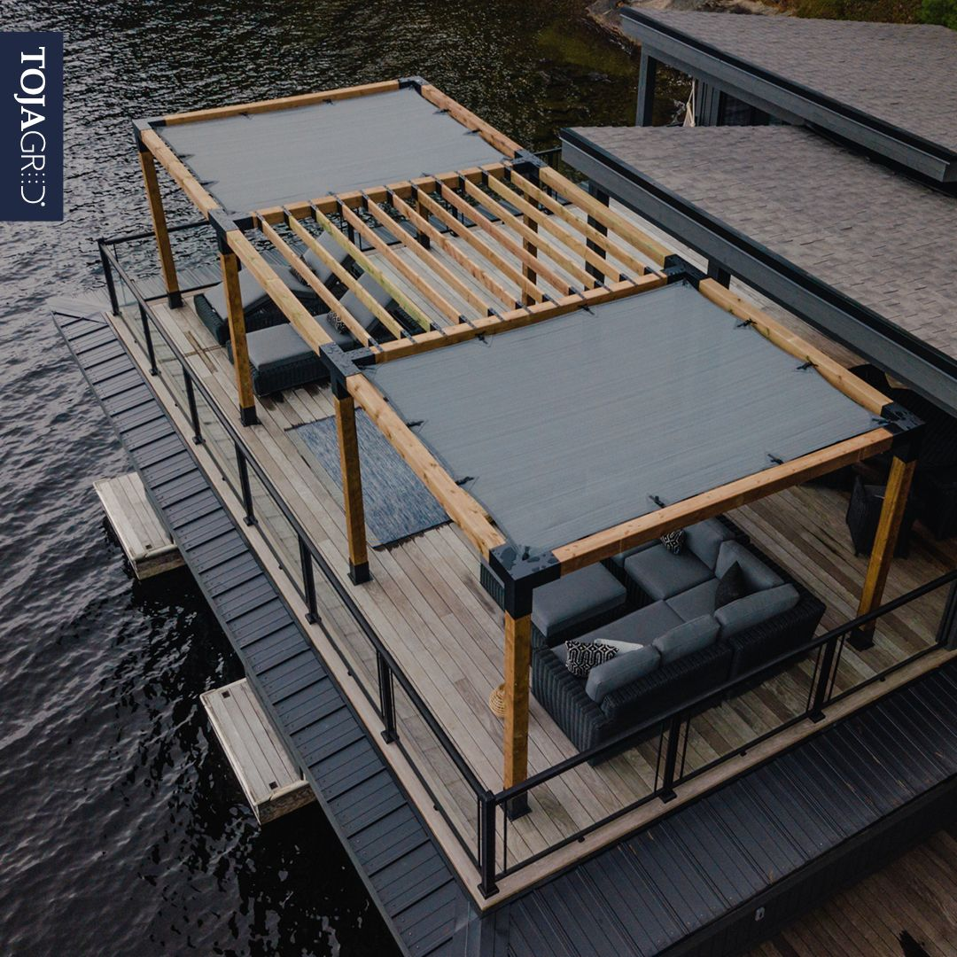 Close Up Aerial View Of A Beautiful 6x6 Triple Pergola With A Grid