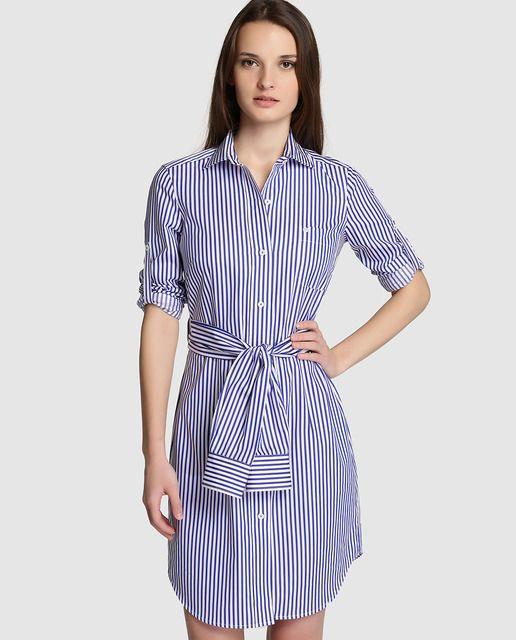 Vestido camisero azul rayas