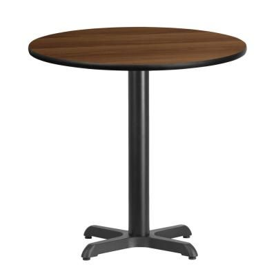 Flash Furniture 30 In Round Black And Walnut Laminate Table Top
