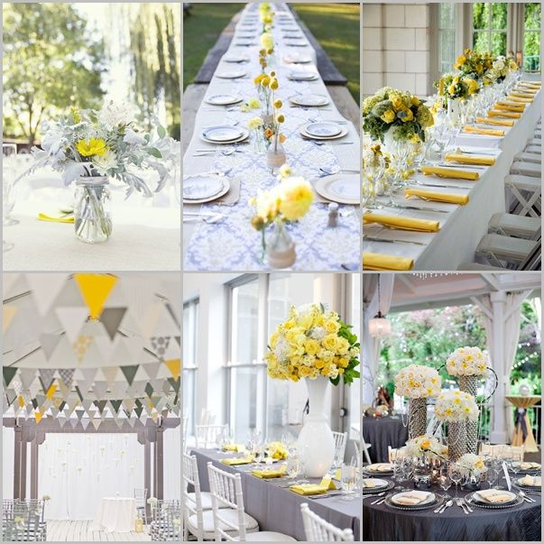 Ideas originales para bodas en amarillo y gris insp rate - Decoraciones de bodas ...