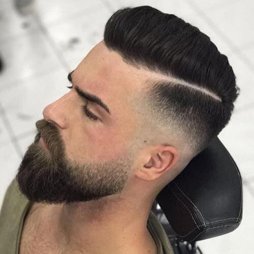 Deep Side Part Pompadour