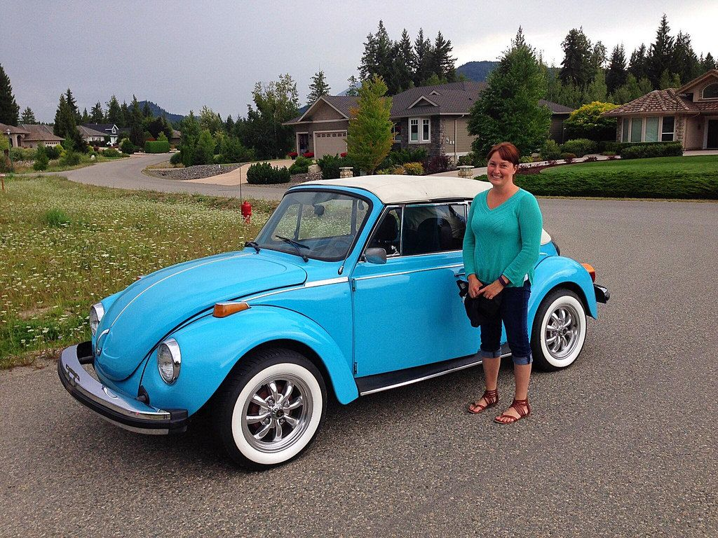 Her 1979 Miami Blue VW Super Beetle Convertible, fuel injected engine with  4spd manual trans., Empi wheels. Join her on Facebook at: …