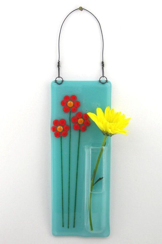 Very Cute!   Hanging Bud Vase / Fused Glass Pocket Vase   by WoodAndGlass @Etsy
