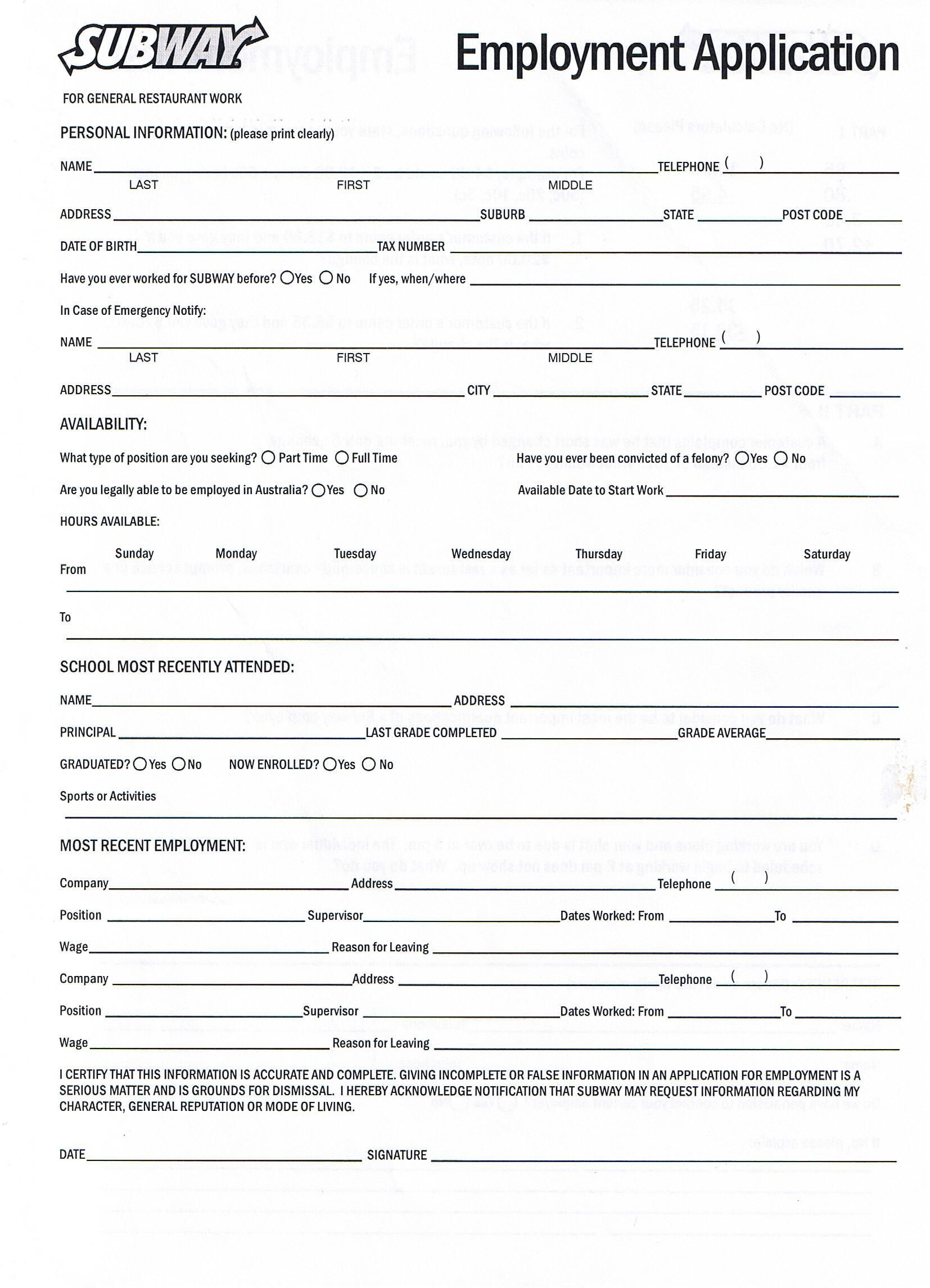 Printable Employment Application For Subway (With images