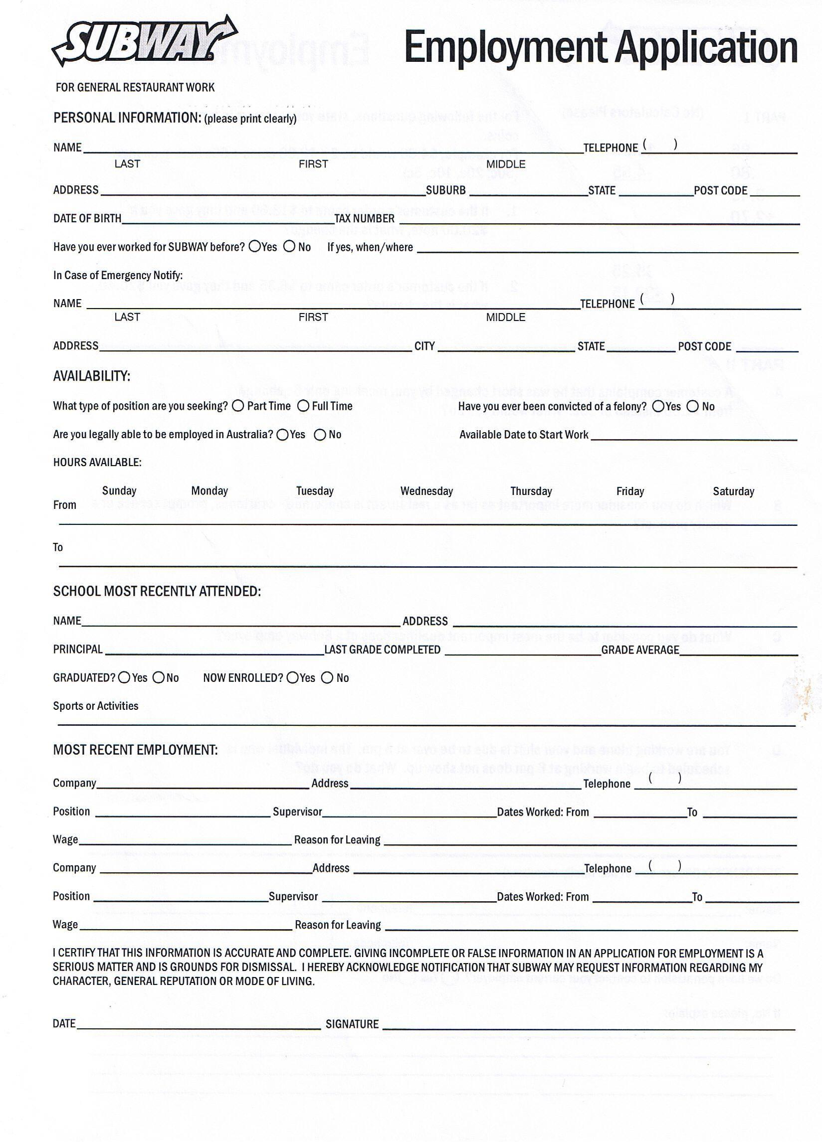 generic printable job applications