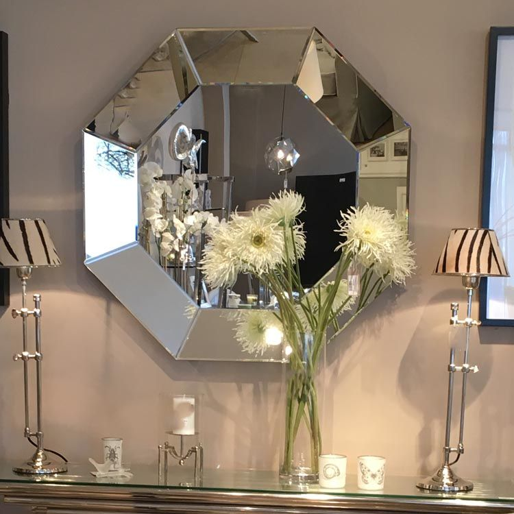 Large Clear Octagon Shaped Wall Mirror 92 Cm