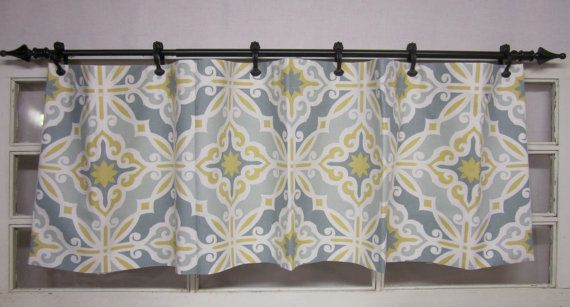 Valence Curtain Valance Yellow Grey Teal Blue And White