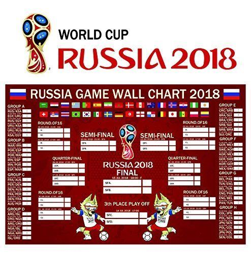 Russia World Cup 2018 Stickers Wall Chart Tournament Schedule Poster 16 X24 039 039 Russia World Cup World Cup World Cup 2018