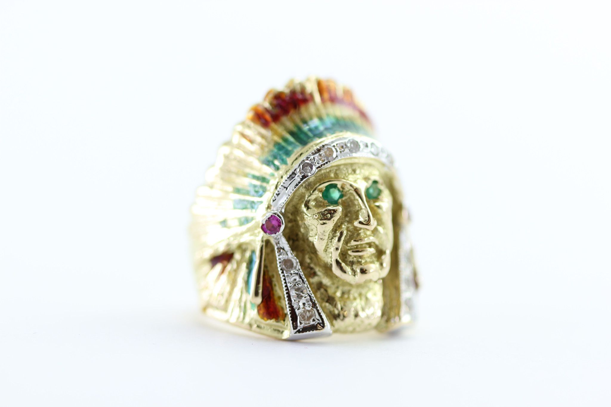 Native American Indian Head Mens Ring The Chief 18k Gold Enamel And Diamonds Cool Rings For Men Gold Enamel Native American Indians
