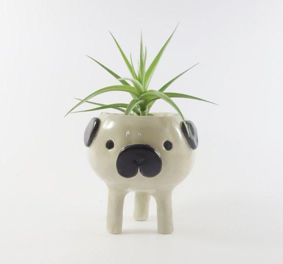Dog2 Head Figurine vase pot en céramique Mini Plante succulente plante fleur décor
