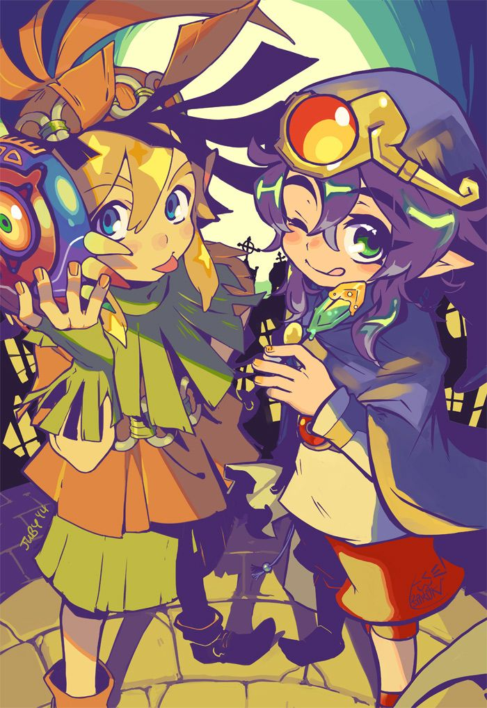 Link and Ravio dress up for Halloween as Skull Kid and Vaati! <3
