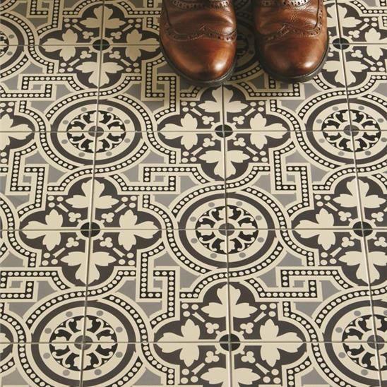 Victorian Kitchen Floor: Salisbury Black On Dover White Tile